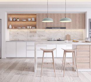 Płytki drewnopodobne w kuchni